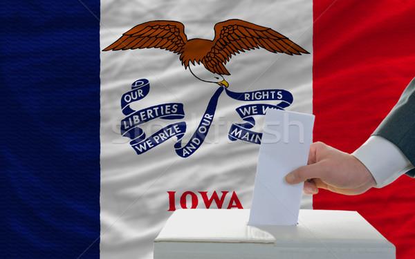Férfi szavazás választások zászló Iowa szavazócédula Stock fotó © vepar5