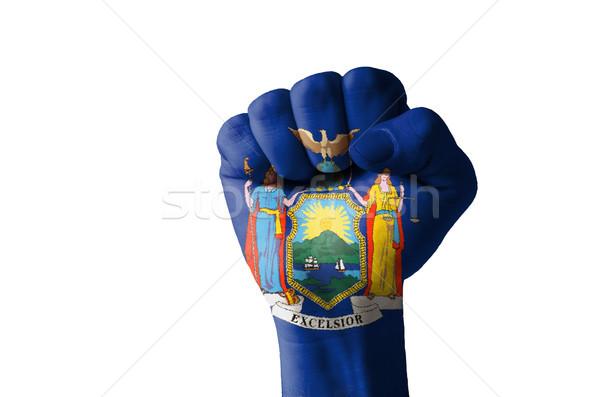 Punho pintado cores Nova Iorque bandeira baixo Foto stock © vepar5