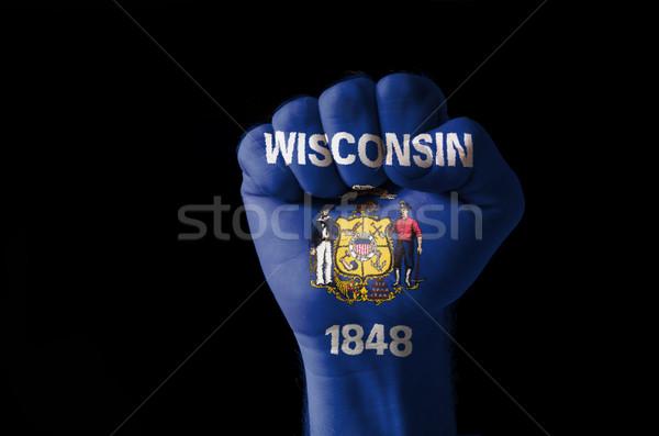 ököl festett színek Wisconsin zászló alacsony Stock fotó © vepar5