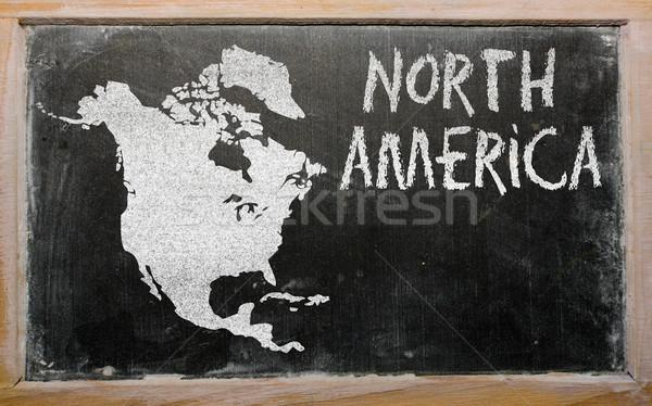 outline map of north america on blackboard  Stock photo © vepar5