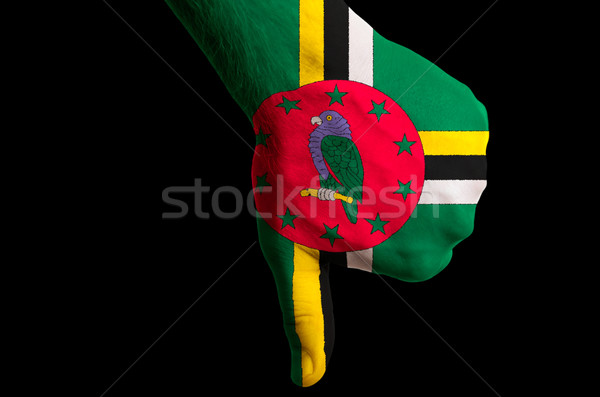dominica national flag thumbs down gesture for failure made with Stock photo © vepar5