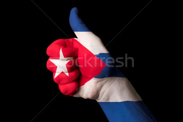 キューバ フラグ 親指 アップ ジェスチャー 卓越 ストックフォト © vepar5