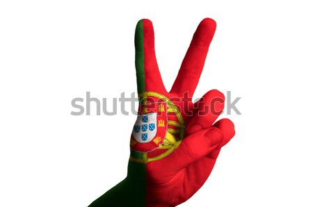 portugal national flag two finger up gesture for victory and win Stock photo © vepar5