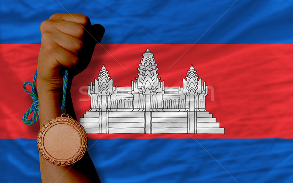 Bronze medalha esportes bandeira Camboja Foto stock © vepar5