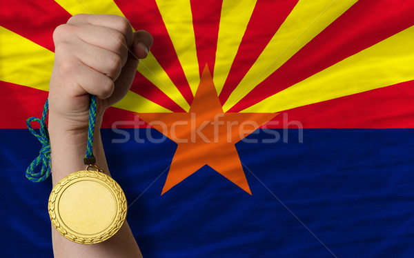 Stock photo: Gold medal for sport and  flag of american state of arizona