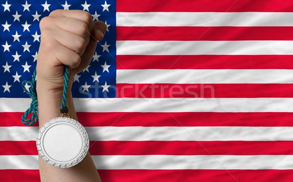 Argento medaglia sport bandiera america Foto d'archivio © vepar5