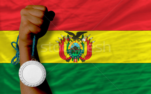 Silver medal for sport and  national flag of bolivia    Stock photo © vepar5