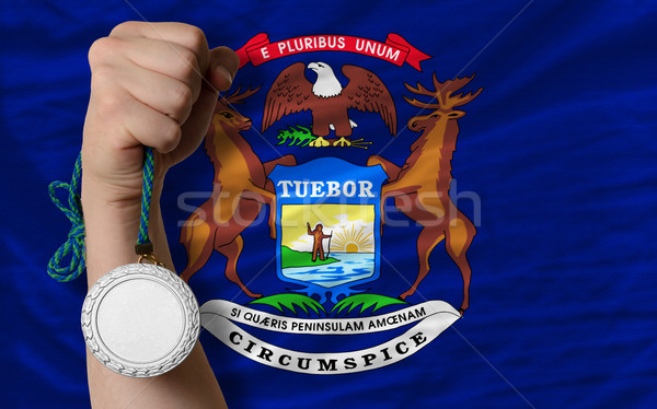 Argento medaglia sport bandiera americano Michigan Foto d'archivio © vepar5