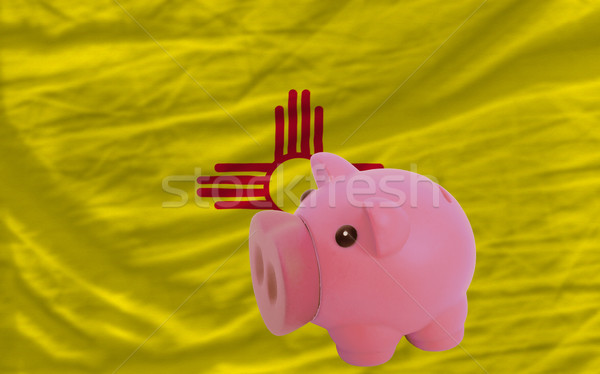 piggy rich bank and  flag of american state of new mexico    Stock photo © vepar5