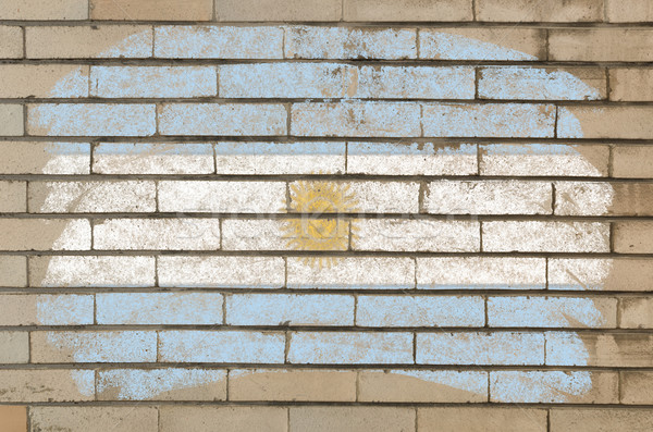 flag of Argentina on grunge brick wall painted with chalk   Stock photo © vepar5
