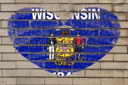 флаг Висконсин кирпичная стена окрашенный мелом американский Сток-фото © vepar5