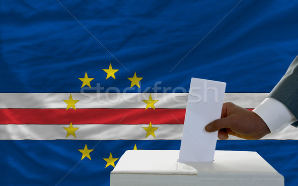 man voting on elections in front of national flag of capeverde Stock photo © vepar5