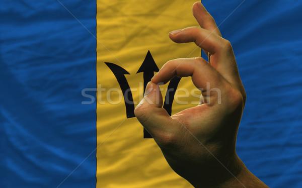 Gebaar Barbados vlag man tonen Stockfoto © vepar5