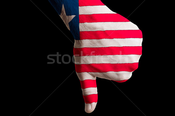 liberia national flag thumbs down gesture for failure made with  Stock photo © vepar5
