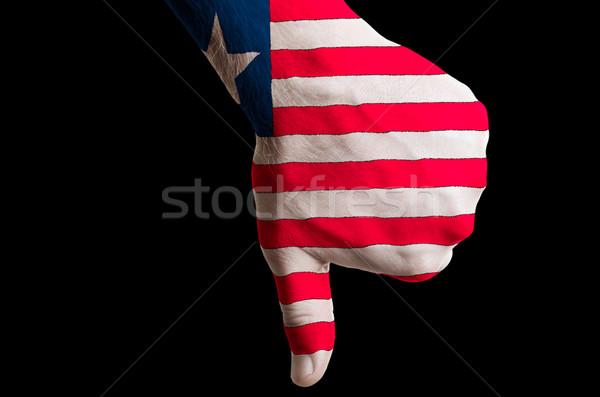 Libéria zászló hüvelykujjak lefelé kézmozdulat kudarc Stock fotó © vepar5