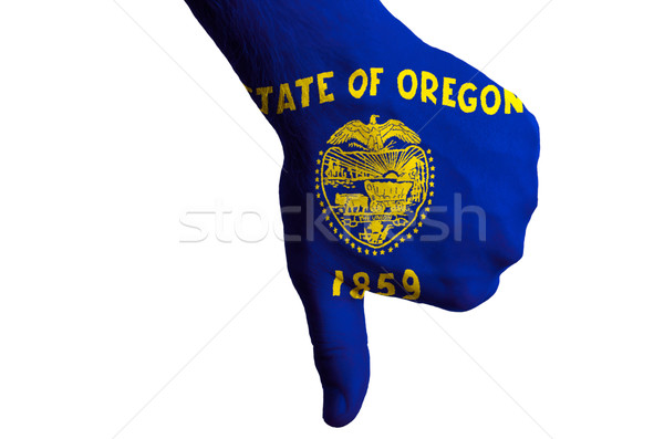 Stock photo: oregon us state flag thumbs down gesture for failure made with h