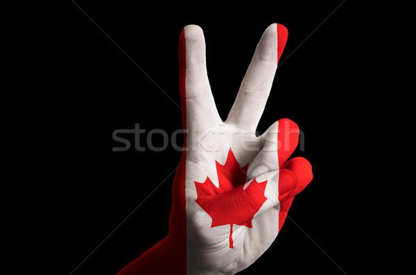 Canadá bandeira dois dedo para cima gesto Foto stock © vepar5