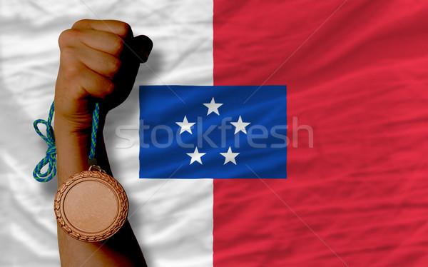 Bronze medal for sport and  national flag of  of franceville    Stock photo © vepar5