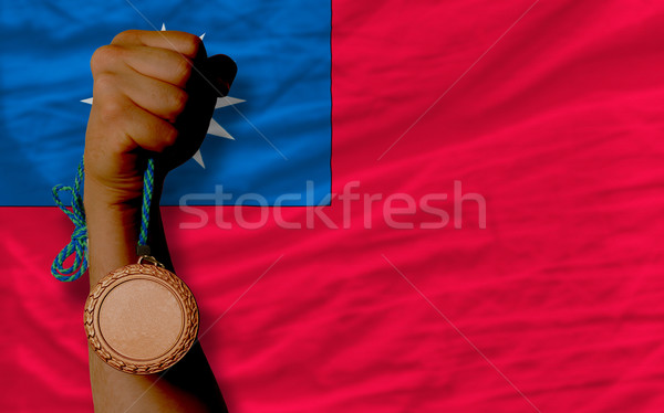 Bronze medal for sport and  national flag of taiwan    Stock photo © vepar5