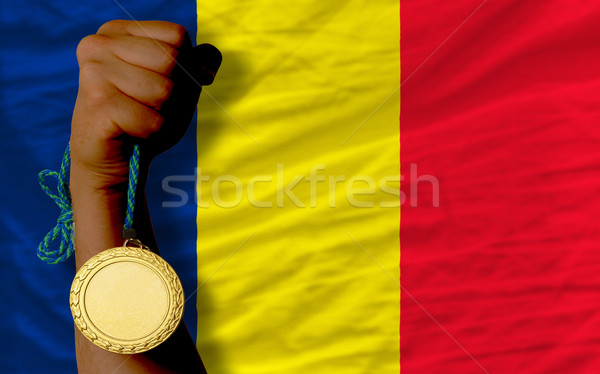 Gold medal for sport and  national flag of  of chad    Stock photo © vepar5