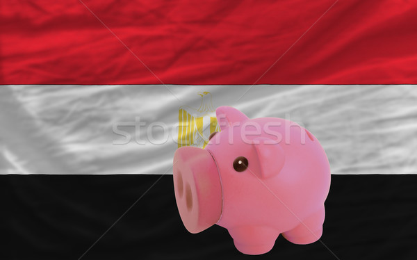 piggy rich bank and  national flag of egypt    Stock photo © vepar5