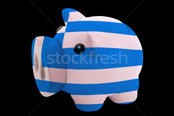 piggy rich bank in colors national flag of greece   for saving m Stock photo © vepar5