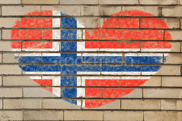 Forma de corazón bandera Noruega pared de ladrillo corazón Foto stock © vepar5