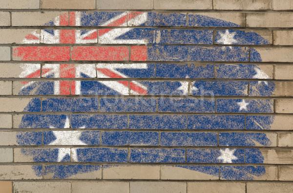 Stockfoto: Vlag · Australië · grunge · muur · geschilderd · krijt