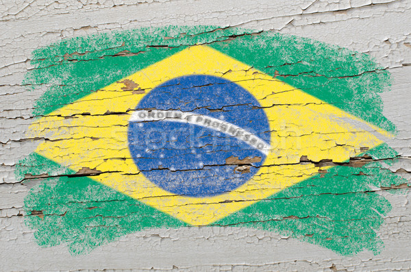 flag of Brazil on grunge wooden texture painted with chalk   Stock photo © vepar5