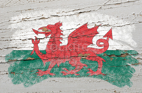 flag of wales on grunge wooden texture painted with chalk   Stock photo © vepar5