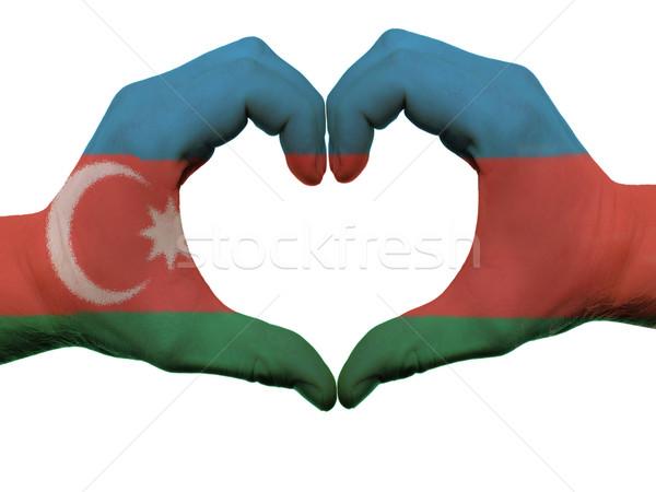 Corazón amor gesto Azerbaiyán bandera colores Foto stock © vepar5