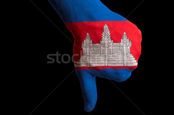 Cambodja vlag beneden gebaar mislukking Stockfoto © vepar5