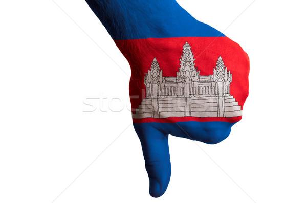 カンボジア フラグ 親指 ダウン ジェスチャー 失敗 ストックフォト © vepar5