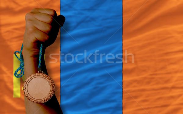 Bronz madalya spor bayrak Moğolistan Stok fotoğraf © vepar5