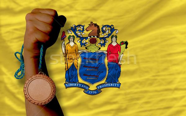 бронзовый медаль спорт флаг американский Нью-Джерси Сток-фото © vepar5