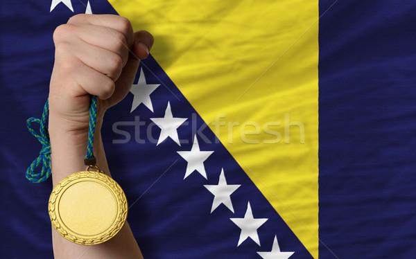 Stok fotoğraf: Altın · madalya · spor · bayrak · Bosna · Hersek · kazanan