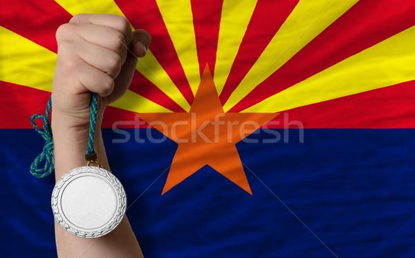 Gümüş madalya spor bayrak amerikan Arizona Stok fotoğraf © vepar5