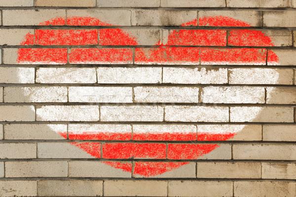 Forma de corazón bandera Austria pared de ladrillo corazón Foto stock © vepar5