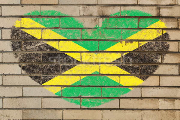 heart shape flag of jamaica on brick wall Stock photo © vepar5