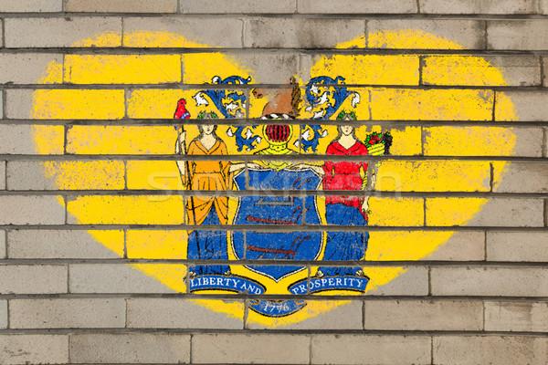 heart shape flag of new jersey on brick wall Stock photo © vepar5