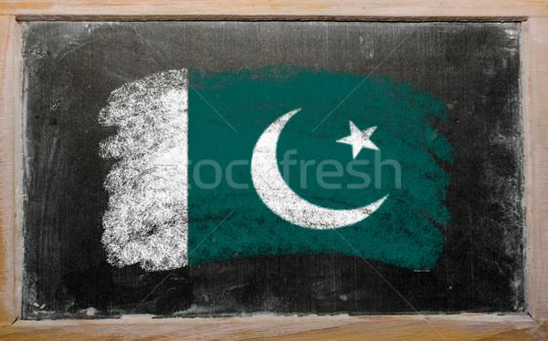 Zászló Pakisztán iskolatábla festett kréta szín Stock fotó © vepar5