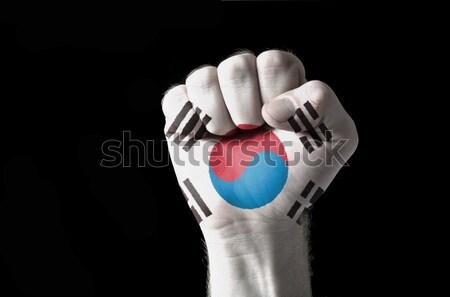 Dél-Korea zászló hüvelykujj felfelé kézmozdulat kiválóság Stock fotó © vepar5