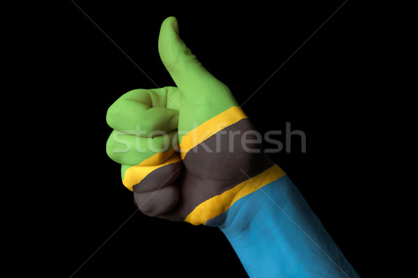 Tanzânia bandeira polegar para cima gesto excelência Foto stock © vepar5