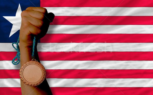 Bronze medal for sport and  national flag of liberia    Stock photo © vepar5