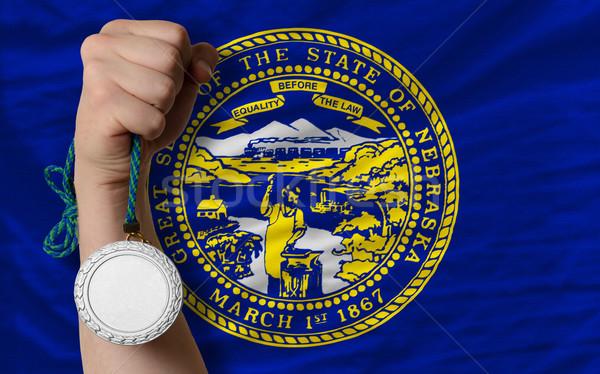 Prata medalha esportes bandeira americano Nebraska Foto stock © vepar5