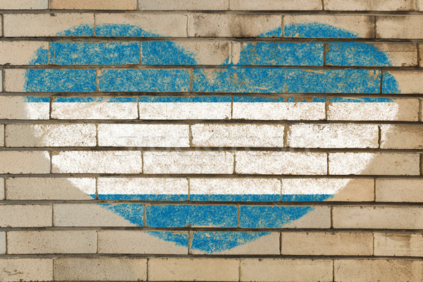 heart shape flag of el salvador on brick wall Stock photo © vepar5
