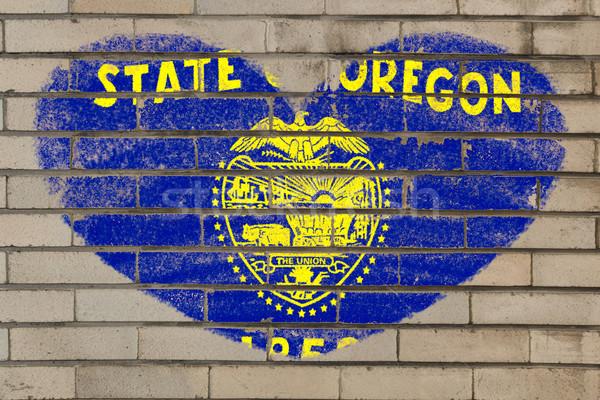heart shape flag of oregon on brick wall Stock photo © vepar5