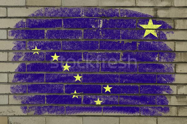 Grunge zászló Alaszka téglafal festett amerikai Stock fotó © vepar5