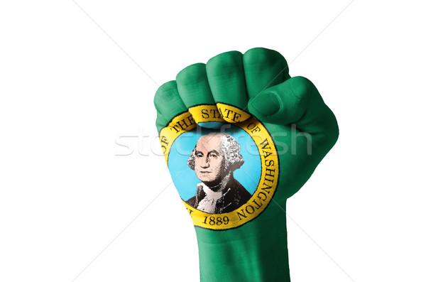 Pięść malowany kolory Waszyngton banderą niski Zdjęcia stock © vepar5