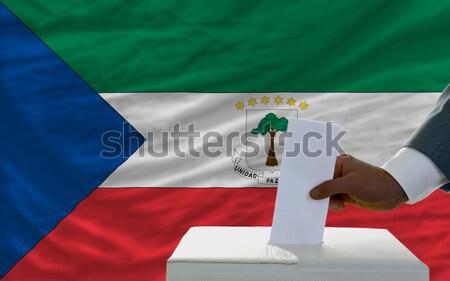 complete waved national flag of  of equatorial guinea for backgr Stock photo © vepar5